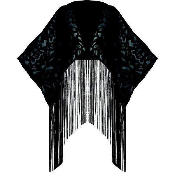 Robe Kimono em Devorê com Franjas Python Luxury