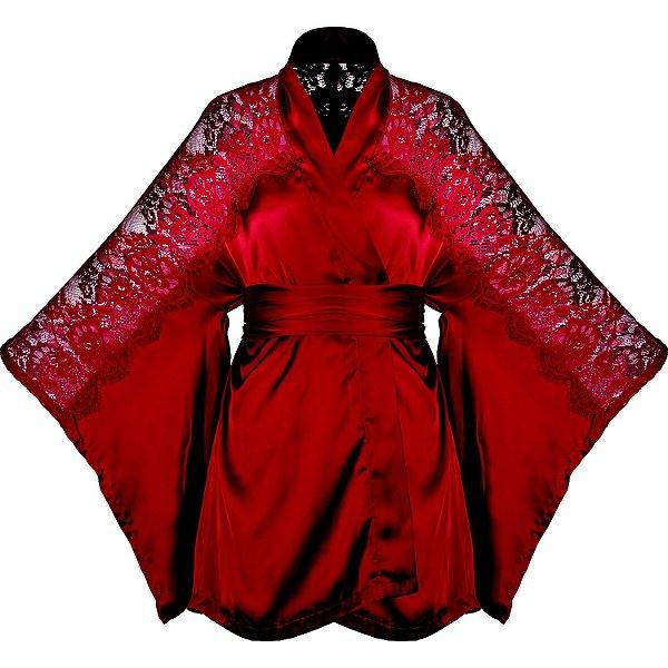 Robe Kimono com Recorte em Renda Love Love