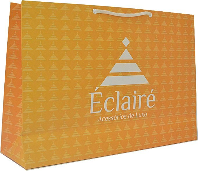 Sacola Personalizada - Papel Duplex 210 grs - 2x0 cores - alça cordão nylon branca - ilhós branco
