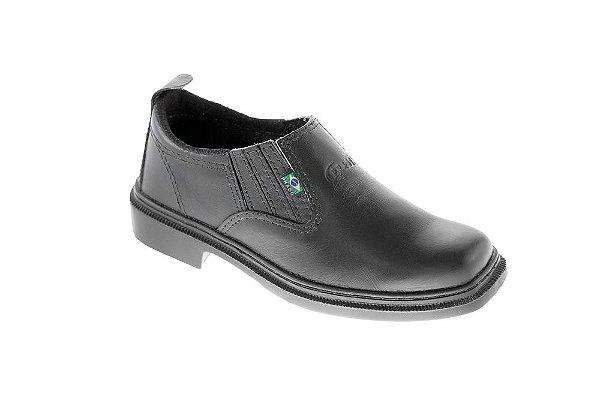 Sapato social de elástico em couro vaqueta preta com sola de borracha