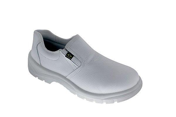 Sapato elástico em couro vaqueta branco com bico de pvc