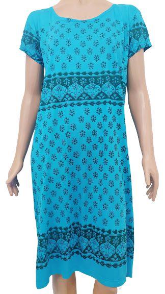 Vestido Azul Turquesa Estampado M