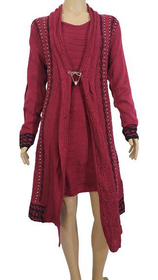 Vestido Bordô Curto Lã com Casaco U