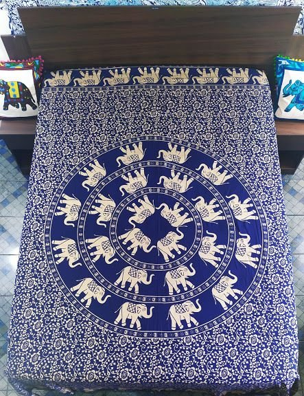 Colcha Indiana Mandala Elefantes Casal