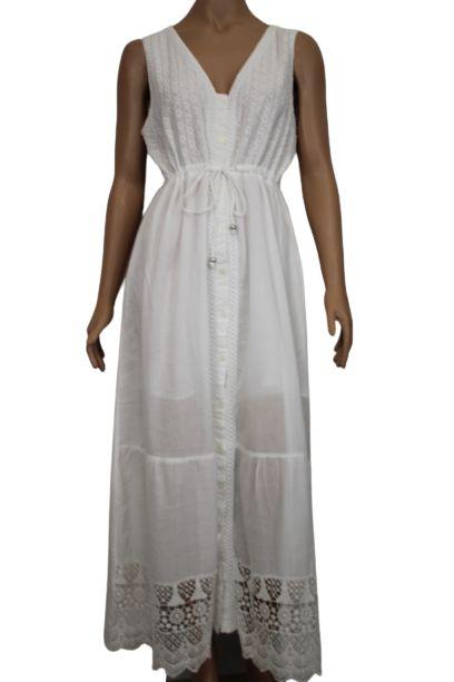 Vestido Longo Regata Lese Branco G