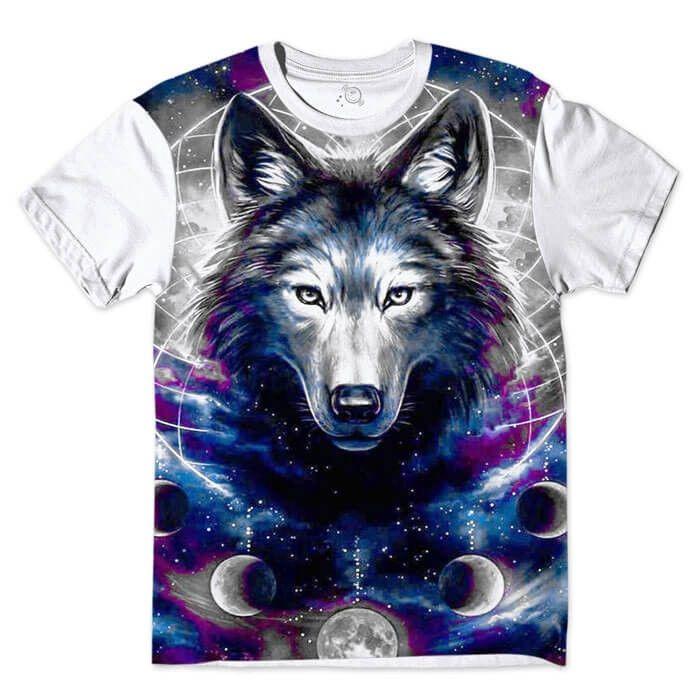 Camiseta Branca Lobo Estelar