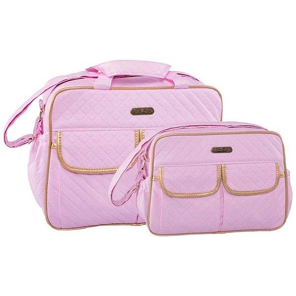 Conjunto Bolsa Maternidade Rosa Dourado Dijon Lilian Baby