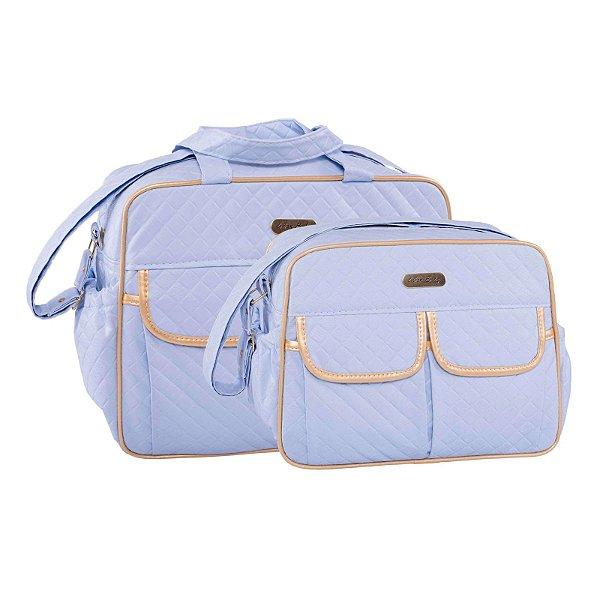 Conjunto Bolsa Maternidade Azul Dourado Dijon Lilian Baby