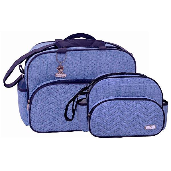 Conjunto Bolsa Maternidade Jeans Azul Com Marinho Lilian Baby