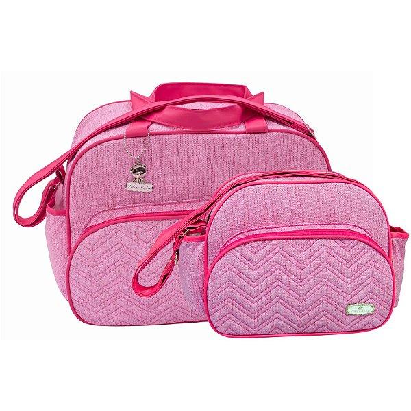 Conjunto Bolsa Maternidade Jeans Rosa Com Pink Lilian Baby