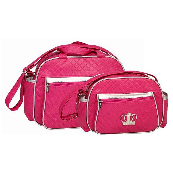 Conjunto Bolsa Maternidade Pink e Prata Coroa Lilian Baby