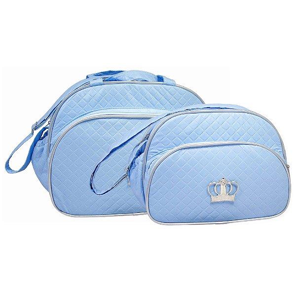 Conjunto Bolsa Maternidade Azul Coroa Prata Lilian Baby