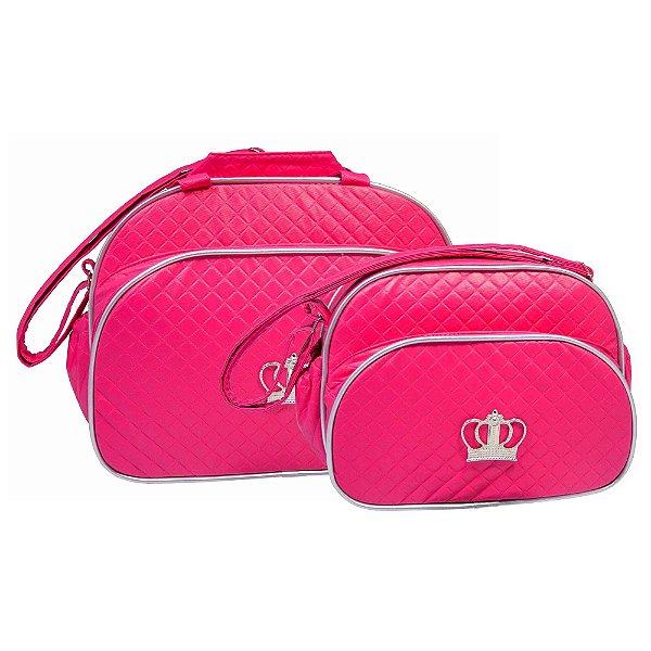 Conjunto Bolsa Maternidade Pink Coroa Prata Lilian Baby