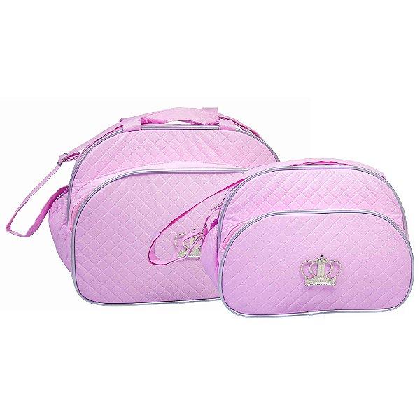 Conjunto Bolsa Maternidade Rosa Coroa Prata Lilian Baby
