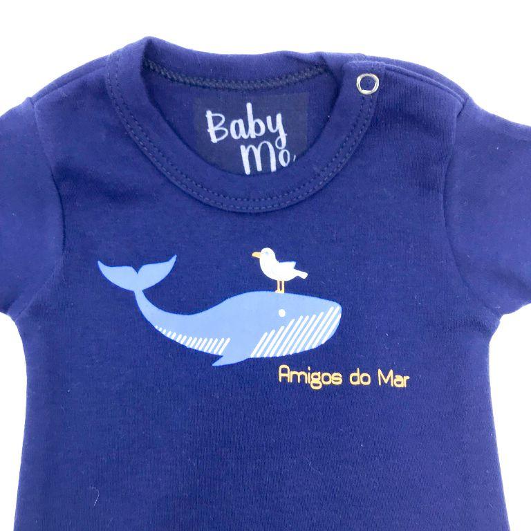 Body Bebê Amigos do Mar Manga Longa