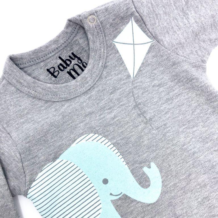 Body Bebê Elefante Pipa Manga Curta