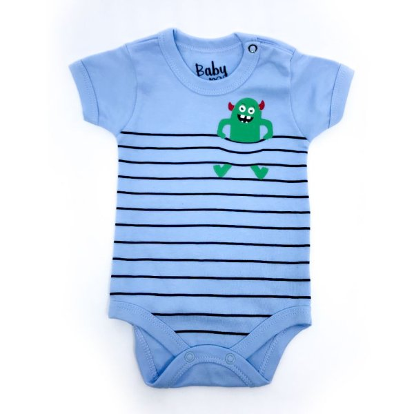 Body Bebê Monstro Listra Manga Curta
