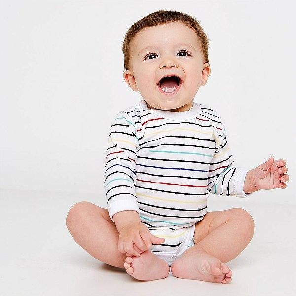 Body Bebê Listrado Manga Longa