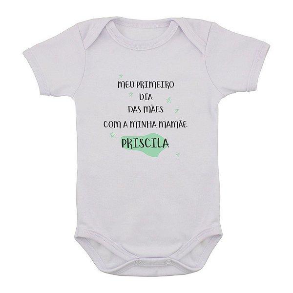 Body de Bebê Primeiro Dia das Mães Verde PERSONALIZADO