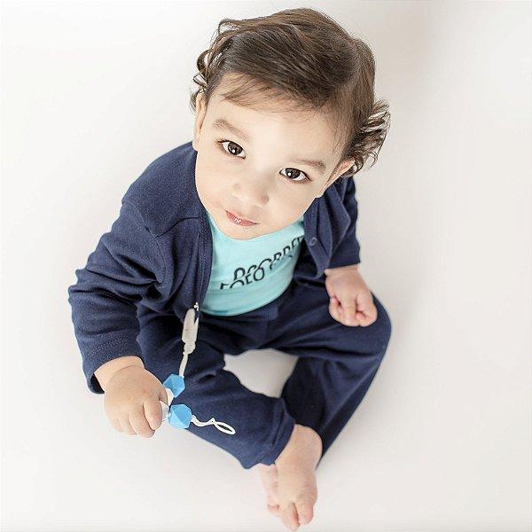 Conjunto Casaco e Calça Azul Marinho para Bebê