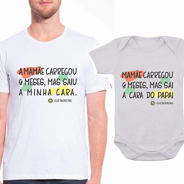 Body de Bebê e Camiseta Adulto Mamãe Carregou 9 Meses