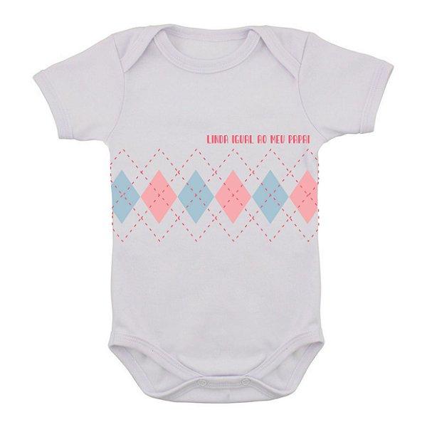 Body de Bebê Xadrez- Como o Papai