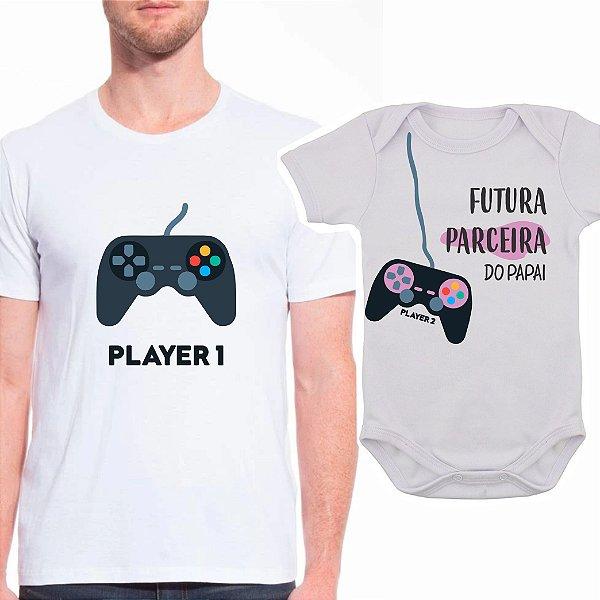 Body de Bebê e Camiseta Adulto Video Game - Pai de Menina
