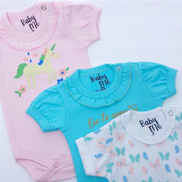 Kit com 3 Bodies de Bebê Meninas