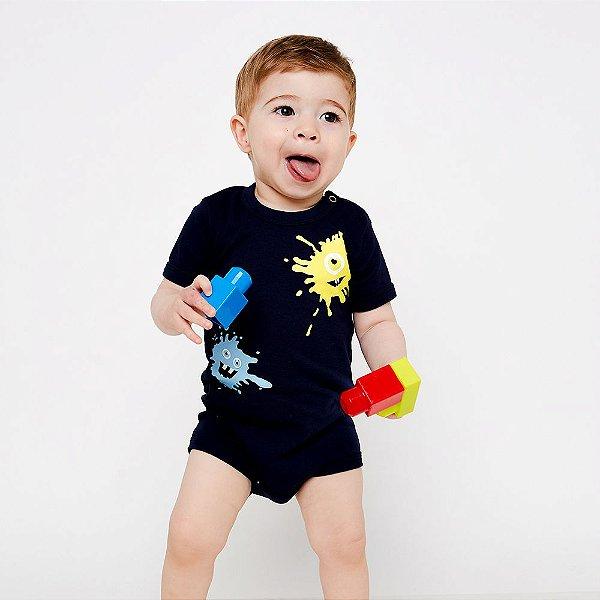 Kit com 3 Bodies de Bebê Meninos - Fofo, Elefante Pipa e Monstrinho Tinta