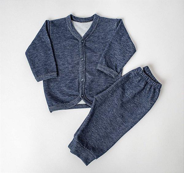 Kit com 3 Jeans - Casaco, Calça e Manta
