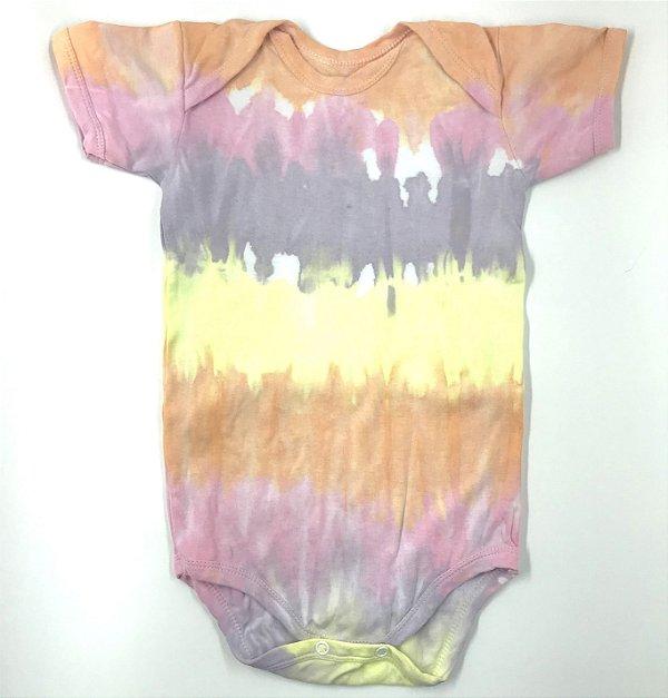 Body de Bebê Estampa Horizontal Tie Dye e Camiseta Mãe