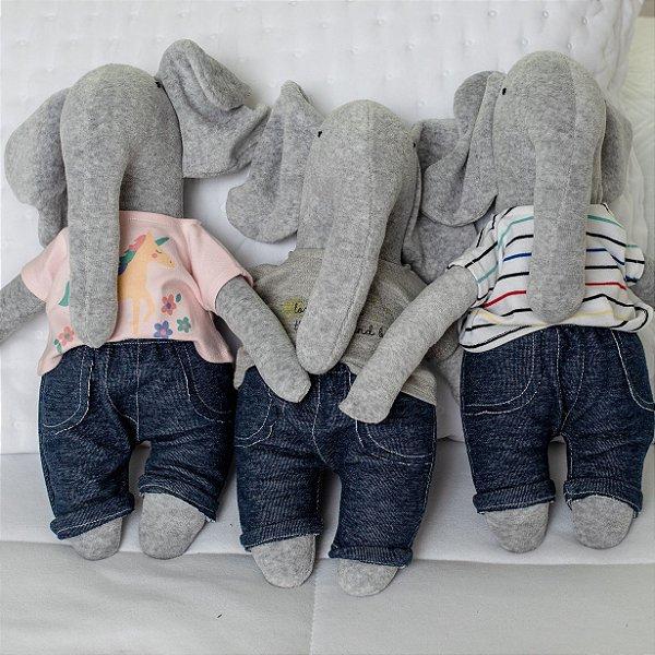 Naninha Elefante + Body e Calça Jeans de Bebê