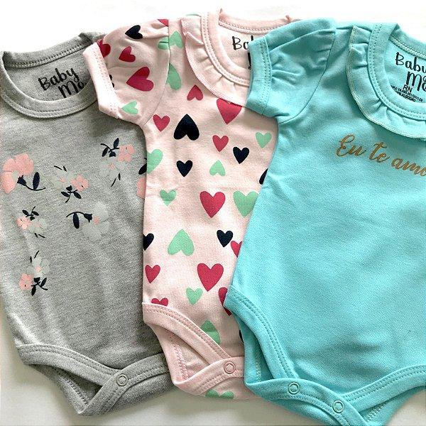 Kit de 3 Bodies Bebê Meninas - Eu te amo, Coraçõe e Flores e Calça Rosa