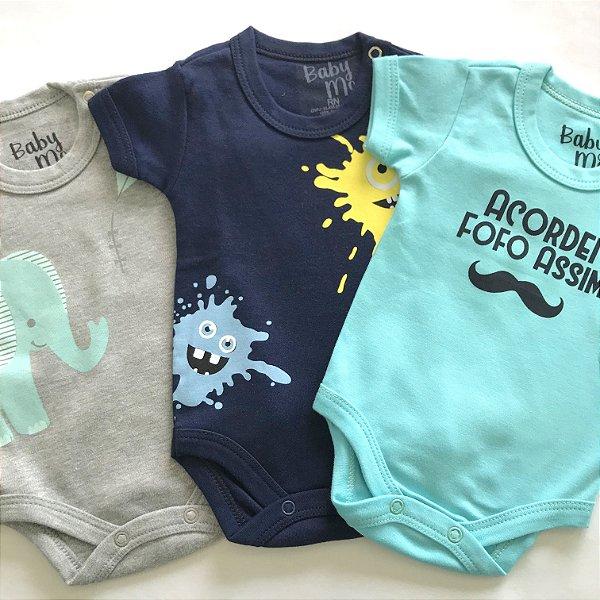 Kit de 3 Bodies Bebê Meninos - Fofo, Pipa e Monstrinho Tinta e Calça Marinho