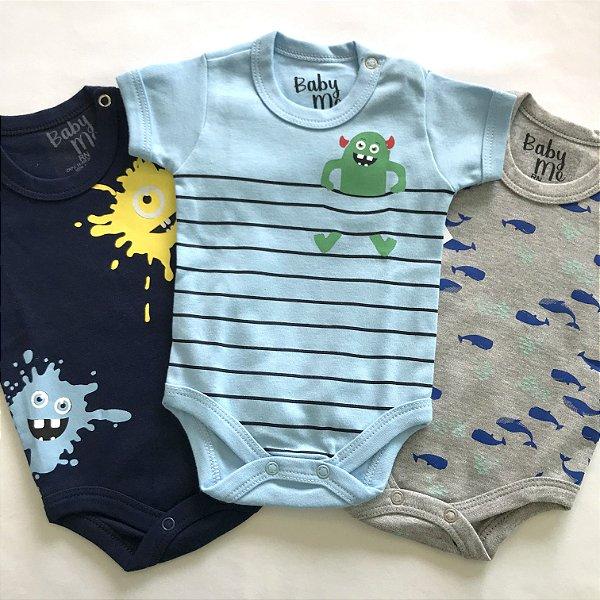 Kit de 3 Bodies Bebê Meninos - Monstro Listra, Baleias e Monstro Tinta e Calça Marinho