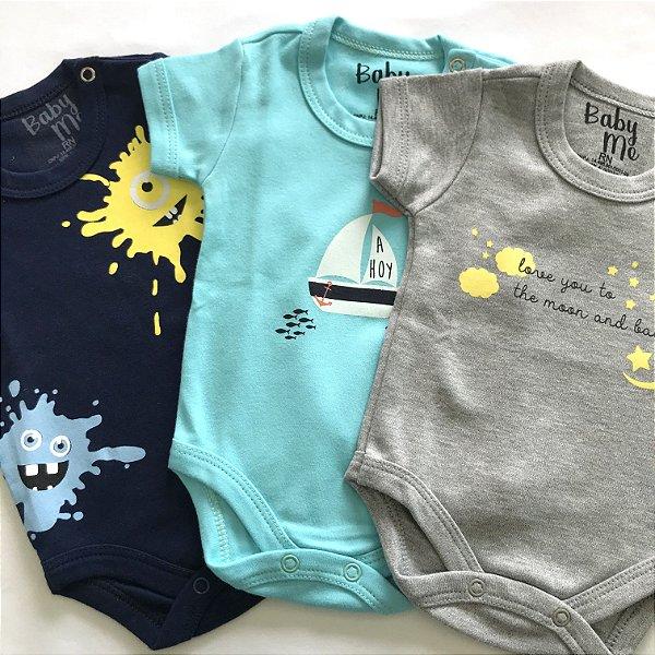 Kit de 3 Bodies Bebê Meninos - Ahoy, Monstro Tinta e Moon and Back e Calça Marinho