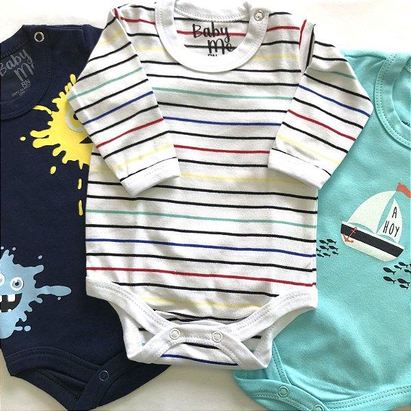 Kit de 3 Bodies Bebê Meninos - Listrado, Ahoy e Tinta e Calça Marinho