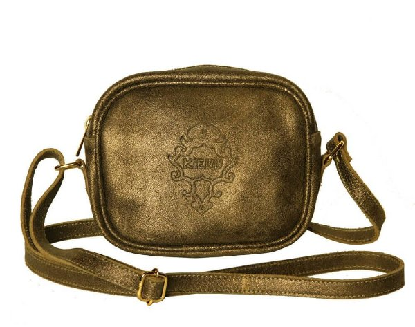 Bolsa Feminina Transversal de Couro Pequena Dourada