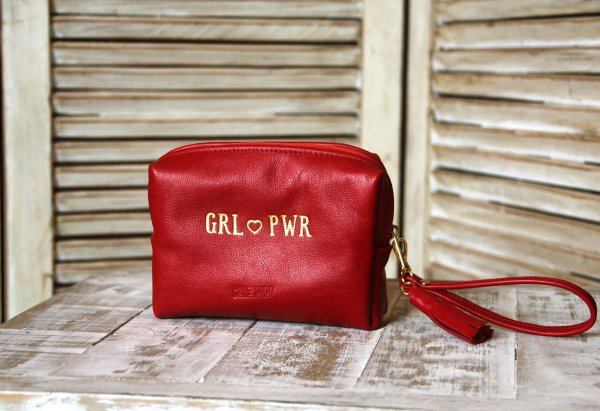 Necessaire Personalizada Feminina de Couro Vermelha Grl Pwr