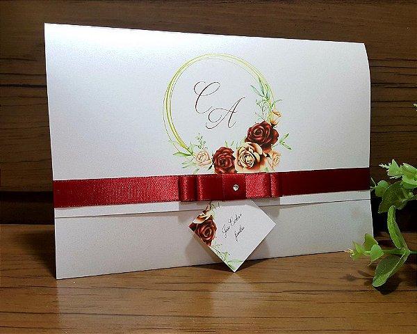 Convite de Casamento Marsala e Rose