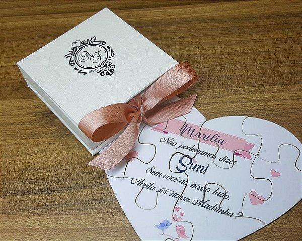 Caixa Convite Quebra Cabeça Coração