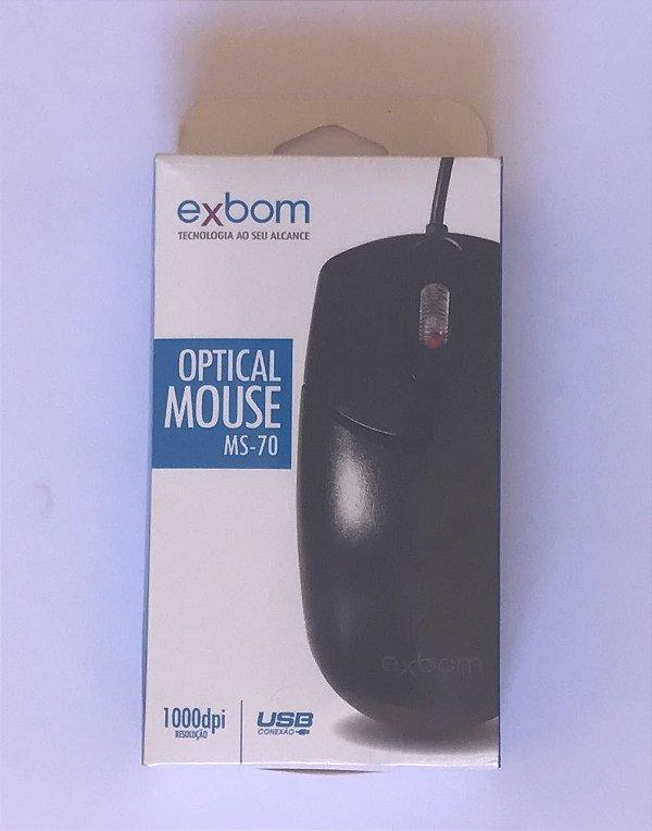 MOUSE OPTICO USB 2.0 RESOLUÇÃO 1000 DPI PRETO MS-70 MS-70 EXBOM