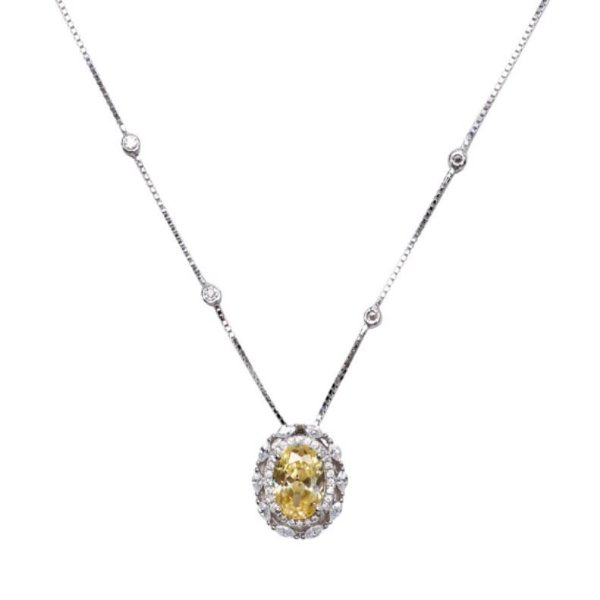 colar cristal fusion citrino 80cm prata 925