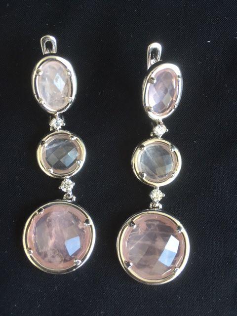 brinco oval quartzo rosa prata 925