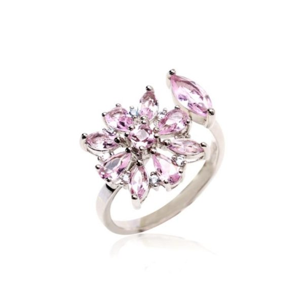 anel flor cristal quartzo- aro 19