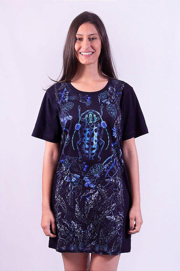 Vestido|Camisetão Raia Begonia Mamaua com Estampa de Besouro e Folhas