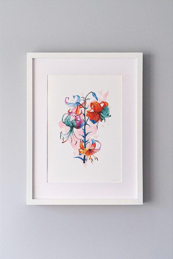 Giclée Fine Art Lilium de Lírios em Aquarela