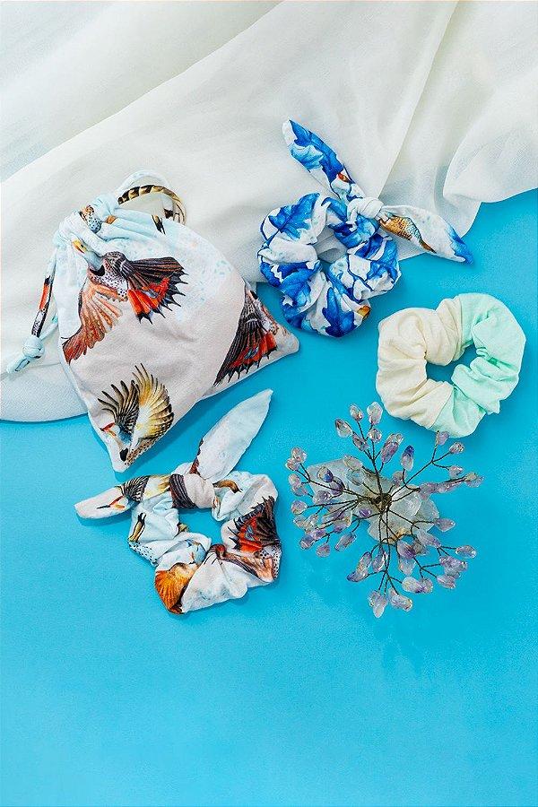 Kit Xuxinhas Geranium Celeste com Estampas de Pássaros e Folhas