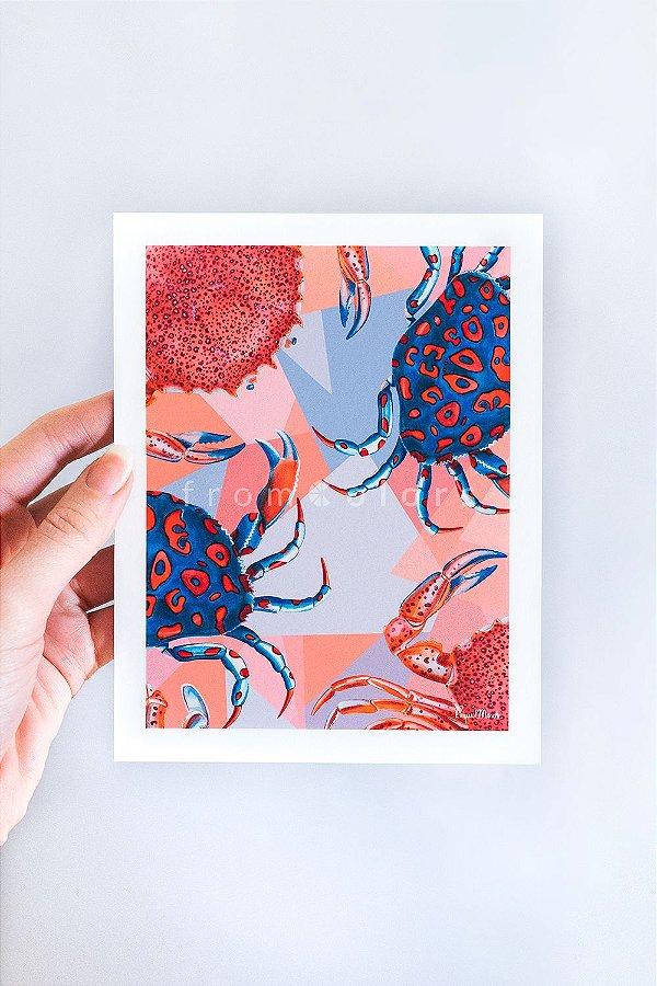 Mini Print Crustacea de Siris em Aquarela