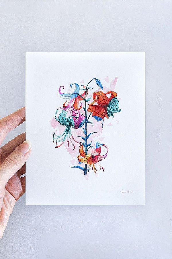 Mini Print Lilium de Lírios em Aquarela